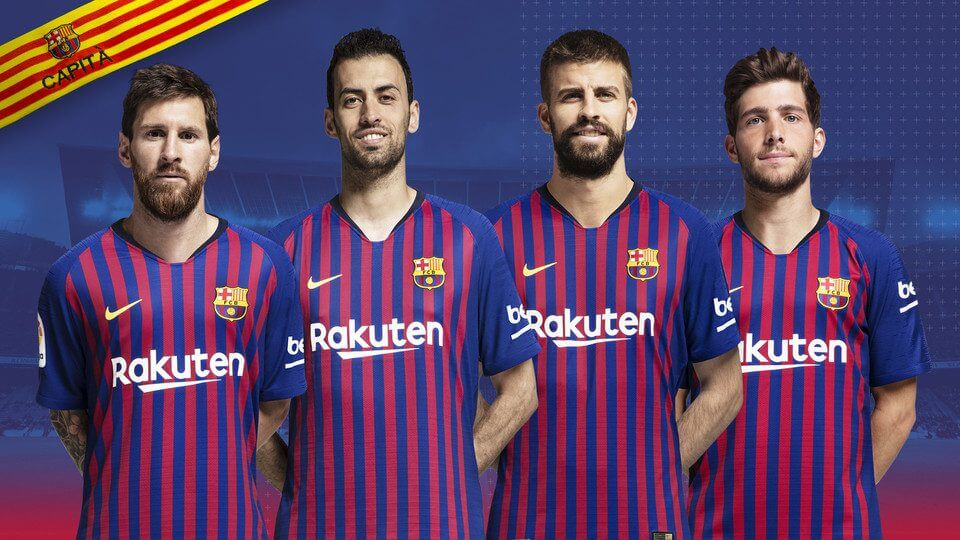 The four captains for FC Barcelona