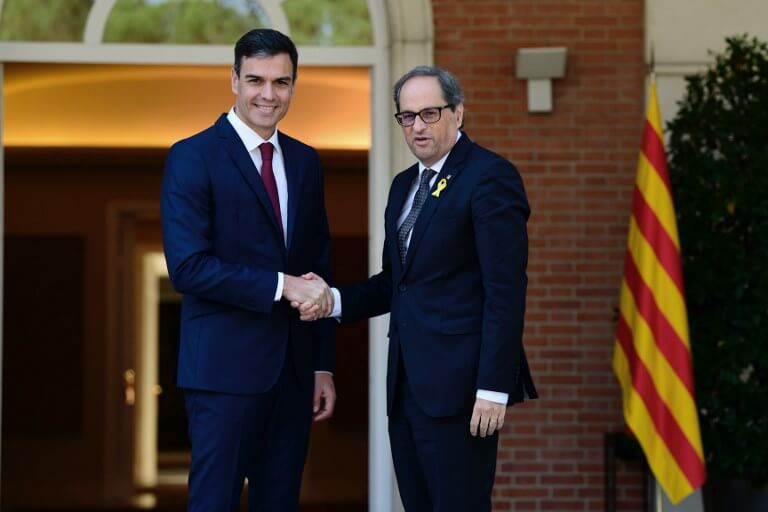 Pedro Sanchez and Quim Torra
