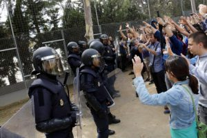 Spanish police officers facing voters