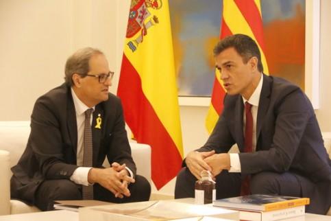 Quim Torra with Pedro Sánchez