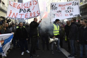 Taxi drivers protest in Madrid