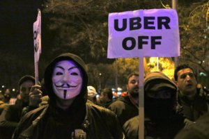 Taxi drivers protesting about Uber