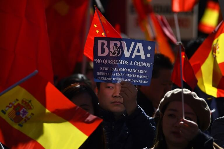 BBVA Chinese protest