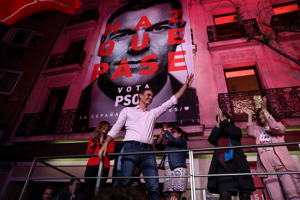 Pedro Sánchez on election night