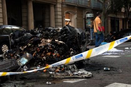 Burnt dumpsters in Barcelona