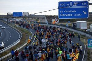 Protest march towards Barcelona