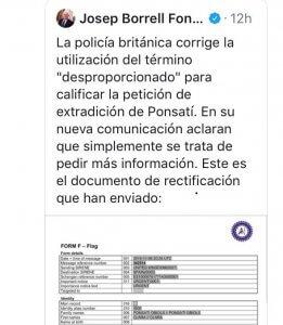 Josep Borrell's deleted tweet