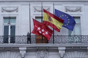 Flags being lowered half-mast in Madrid
