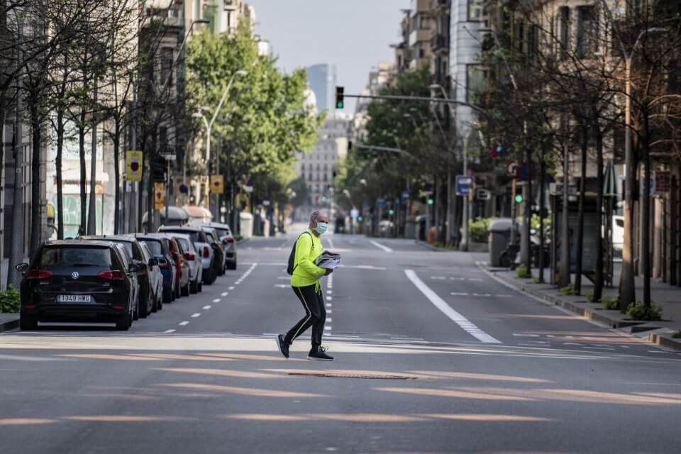 Man crossing road in Barcelona