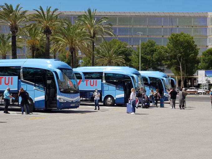 German tourists arrive at Palma de Mallorca airport