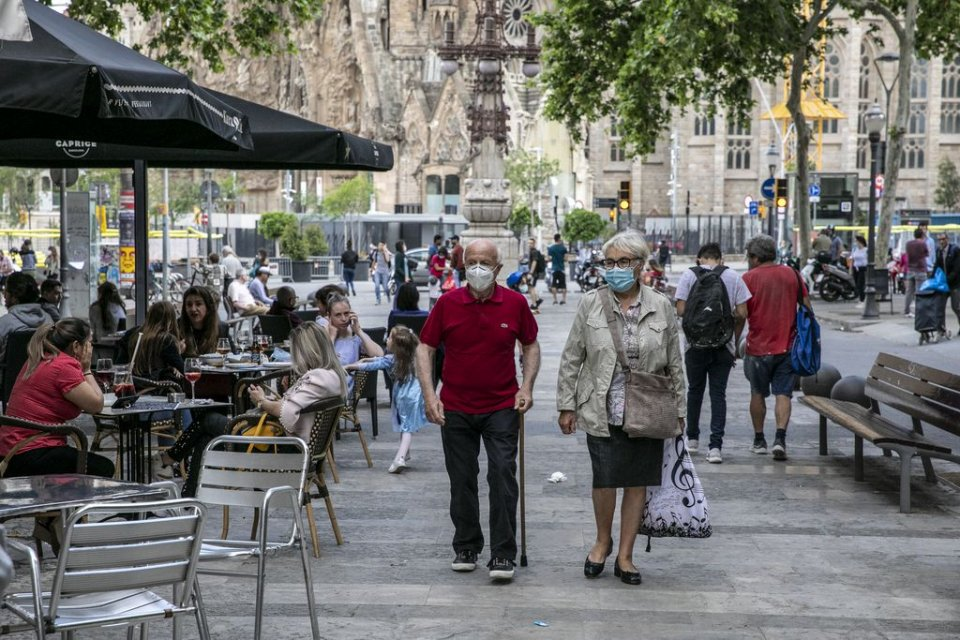 Citizens out and about in Barcelona during the de-escalation of lockdown restrictions