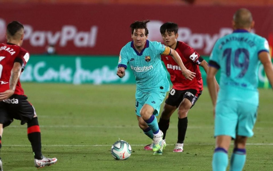 Messi in action against Mallorca