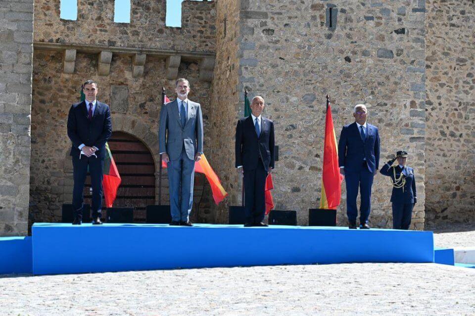 Pedro Sánchez, Felipe VI, Marcelo Rebelo de Sousa and António Costa
