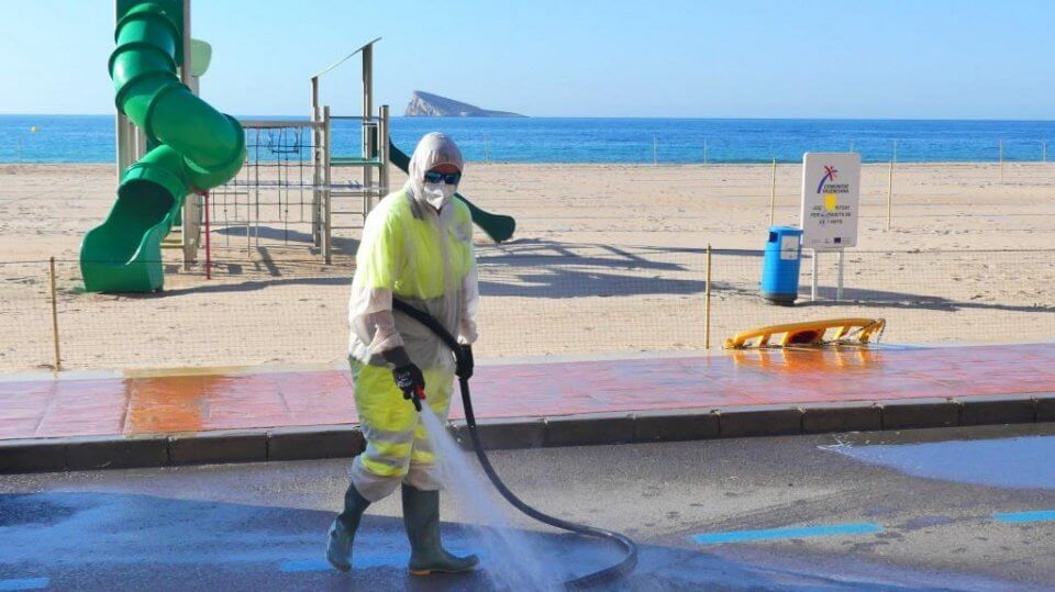 Disinfecting near Benidorm beach.