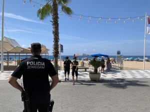 Local police at Benidorm beach