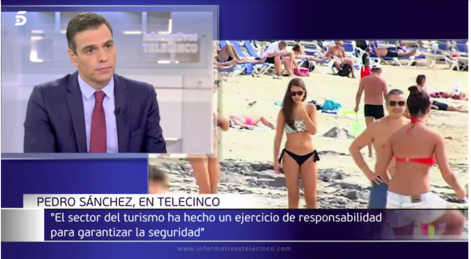 Screenshot of Pedro Sánchez during the Telecinco interview
