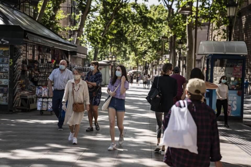 People walking in La Rambla in Barcelona