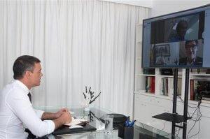 Pedro Sánchez video-conference