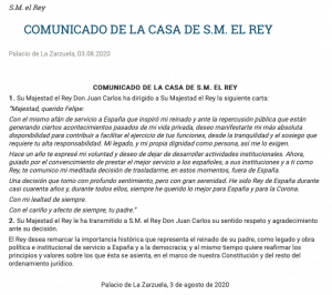 Communication from Royal household in Madrid (3 August 2020).
