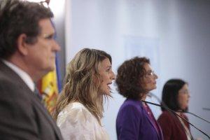 José Luis Escrivá, Yolanda Díaz, María Jesús Montero and Carolina Darias