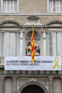The banner at the Catalan government's HQ in Barcelona.