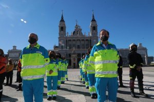 Emergency service workers (SAMUR) participating in Spain's National Day on 12 October 2020 in Madrid.
