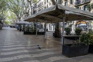 Terrace bars closed in La Rambla