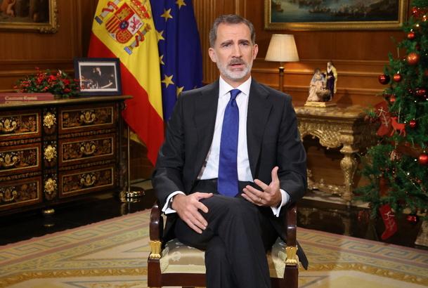 King Felipe VI delivering his Christmas speech