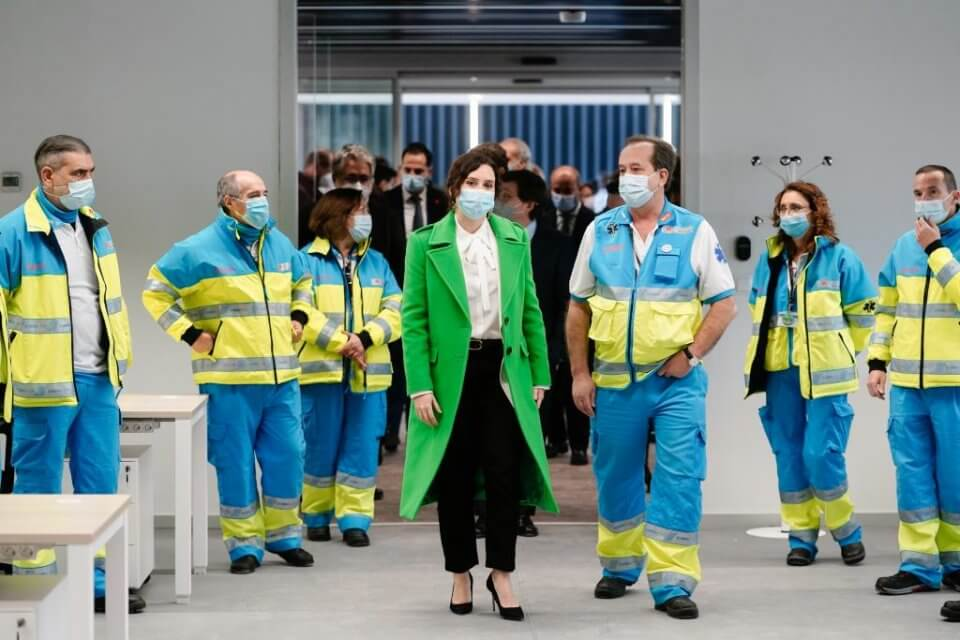 Isabel Díaz Ayuso at the inauguration of the Isabel Zendal hospital