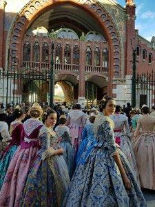 Falleras outside Valencia's Mercado Colón