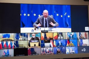 Charles Michel, President of the European Council, taking part in the video meeting with EU leaders on 21 January 2021
