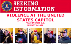 Part of one of the FBI posters seeking further information about the violence at the US Capitol.