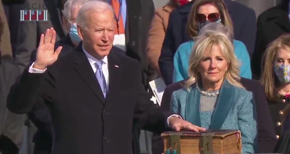 Joe Biden being sworn in as US President