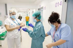 Staff at the Bellvitge Hospital in Catalonia