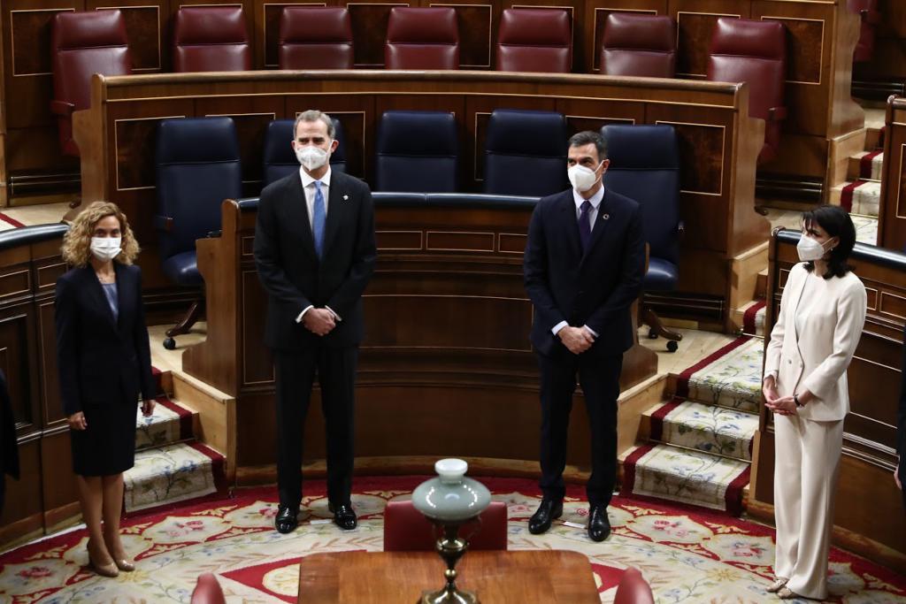 King Felipe VI, Prime Minister Pedro Sánchez, Speaker of the Congress Meritxell Batet