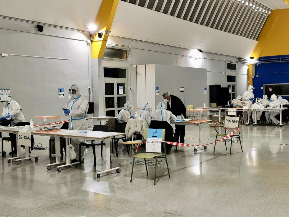 An image taken at a polling station during the Catalan elections