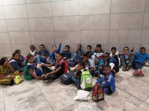 Saharawi children on arrival in Alicante in 2019.