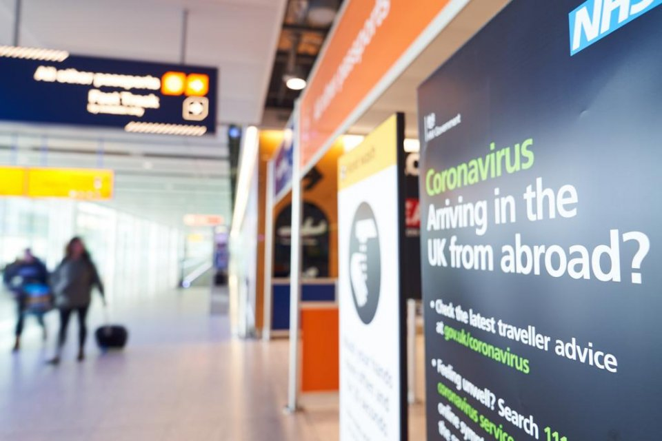 Coronavirus sign for passengers arriving at Heathrow, London. (Heathrow Airport)