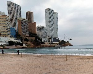 Plots being marked out on Benidorm beach as part of the city's 'safe beach model'.