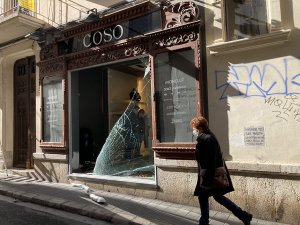 The smashed front of the Coso shop in Sitges.