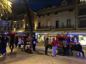 Fire engines outside the Hotel Kalma in Sitges