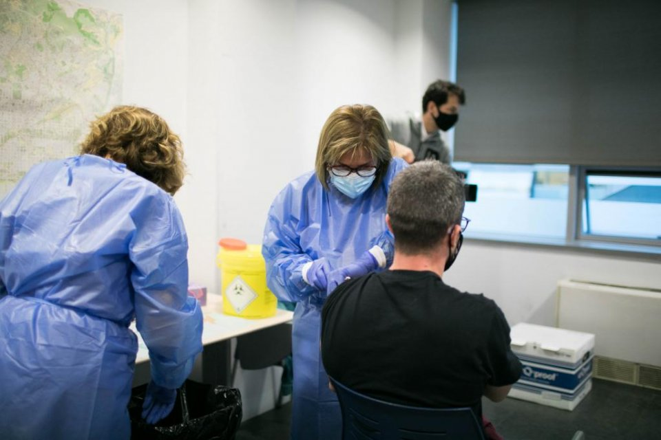Covid-19 vaccination jabs being administered to the Catalan police