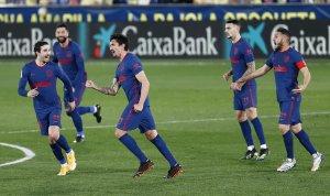 Atlético Madrid players celebrating against Villarreal