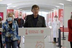 Valencian president Ximo Puig announcing the mass vaccination plan on 17 April 2021. (GVA.es)