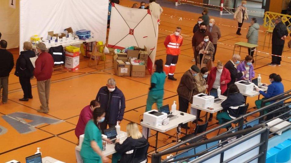 Citizens arriving for Covid-19 vaccinations in Calahorra, La Rioja