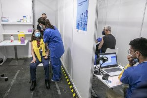Vaccinations against Covid-19 being administered at Barcelona's exhibition centre