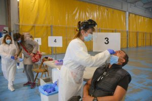 Covid-19 PCR tests being carried out in Olot, Catalonia