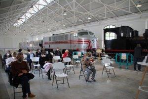 Citizens waiting to receive jabs of the AstraZeneca vaccine at the Railway Museum of Catalonia in Vilanova i la Geltrú