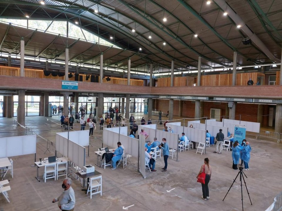 The 'Palau de Fires' exhibition hall in Girona (Catalonia) ready for administering vaccination jabs on 19 April 2021.