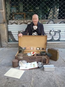 Nick Lloyd with his 'museum in a suitcase'